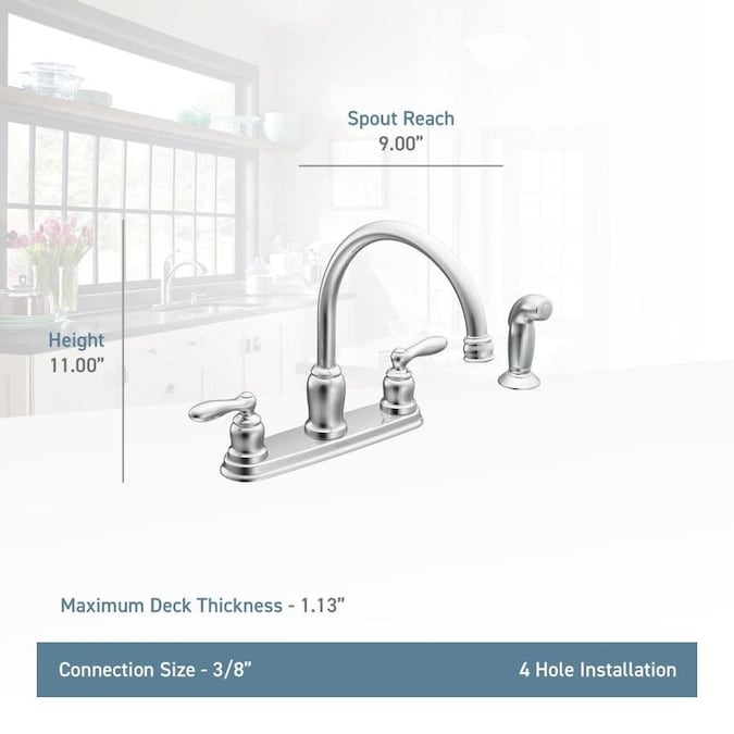 Moen Caldwell Chrome 2 Handle Deck Mount High Arc Handle Kitchen Faucet Deck Plate Included In The Kitchen Faucets Department At Lowes Com