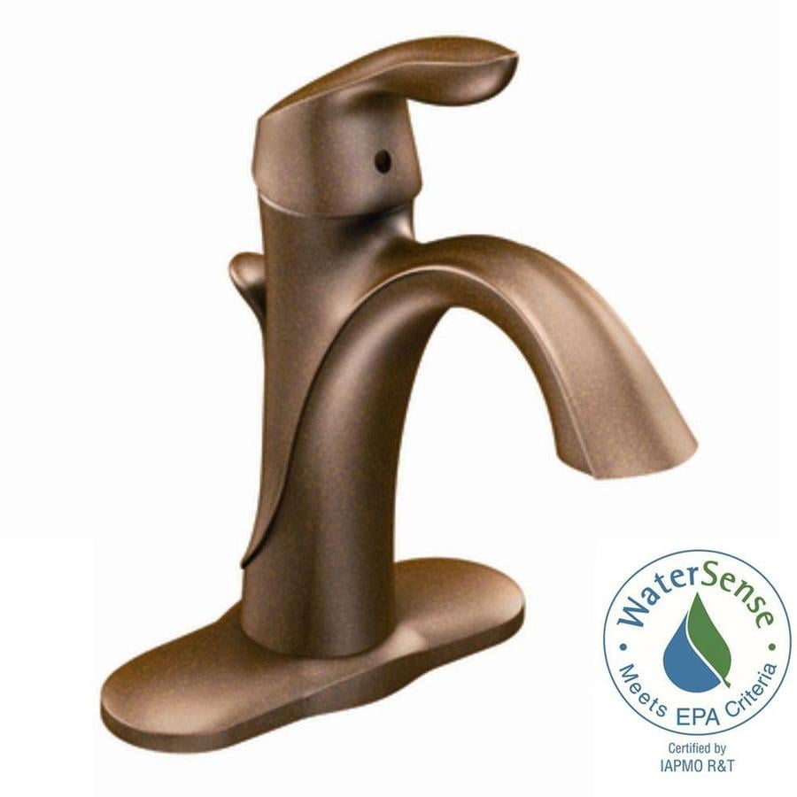Moen Eva Oil-Rubbed Bronze 1-Handle Single Hole/4-in Centerset WaterSense Bathroom Faucet (Drain Included)