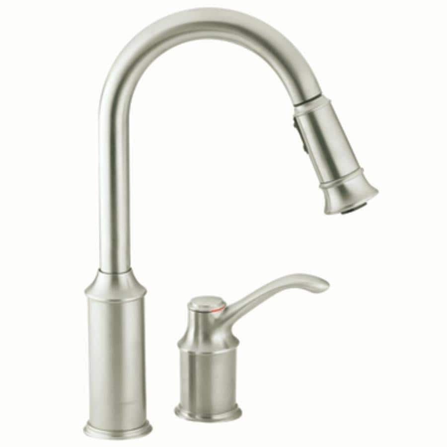 shop moen aberdeen classic stainless 1 handle deck mount pull down moen aberdeen classic stainless 1 handle deck mount pull down kitchen faucet