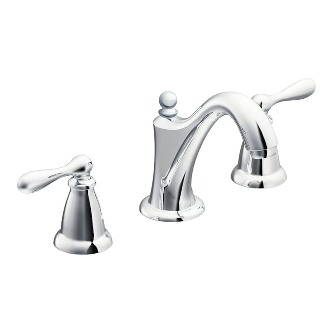 Moen Caldwell Chrome 2 Handle Widespread Watersense Bathroom Faucet Drain Included In The Bathroom Sink Faucets Department At Lowes Com