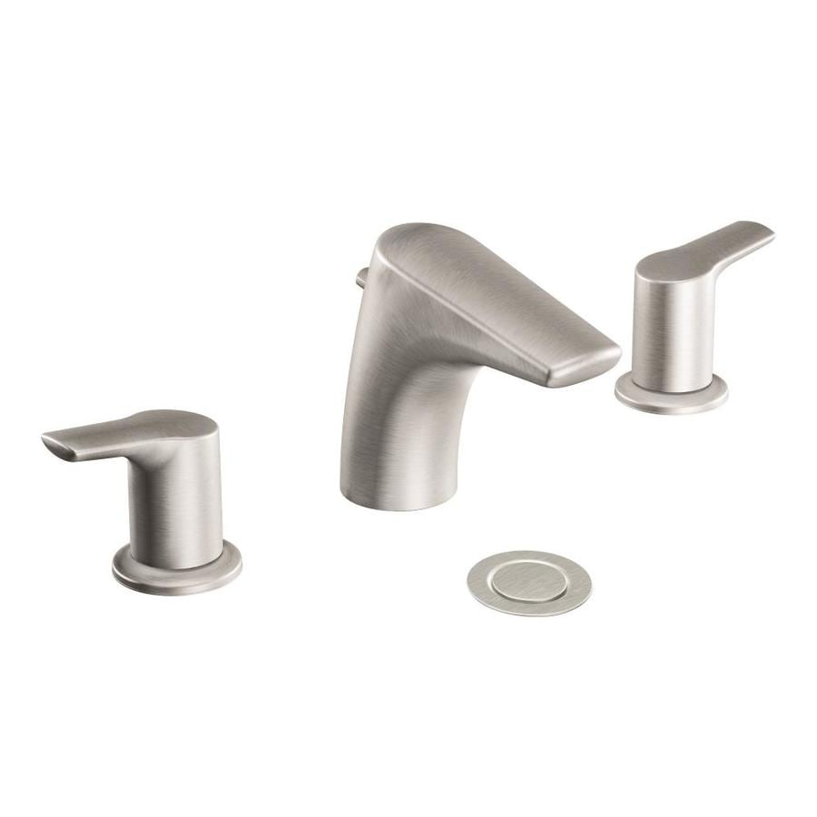Bathroom Faucets Brushed Nickel Widespread : Method Brushed Nickel 2-Handle Widespread WaterSense Bathroom Faucet ...