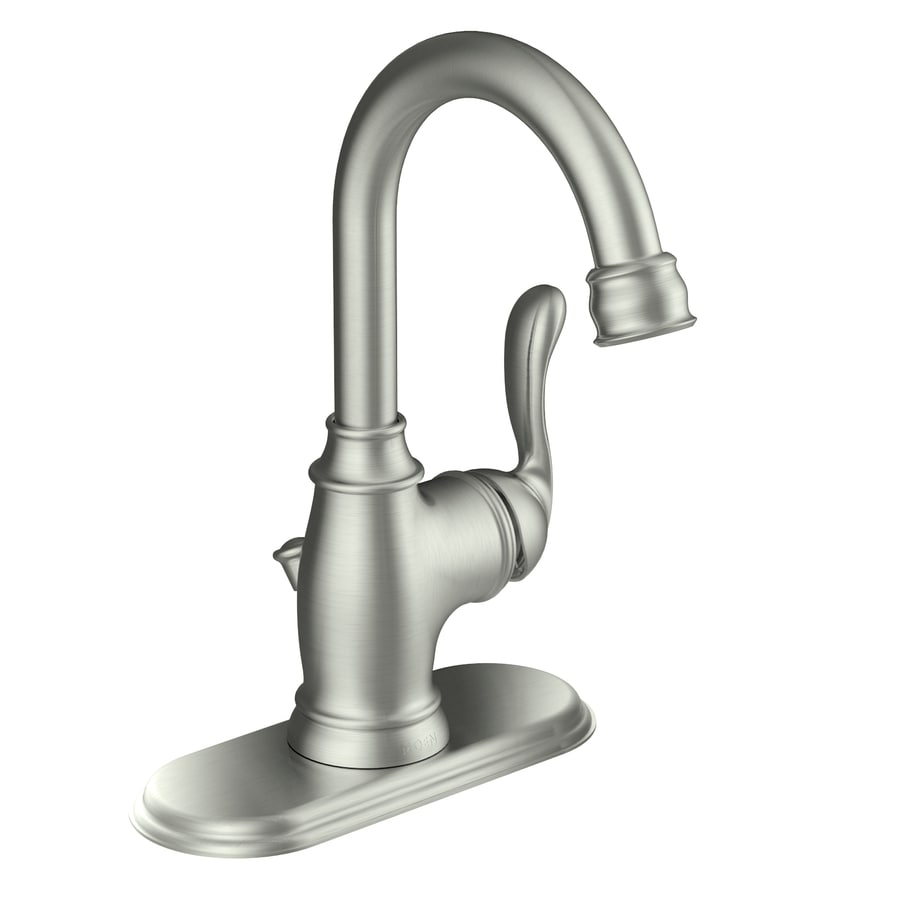 Moen Anabelle Spot Resist Brushed Nickel 1-Handle Single Hole WaterSense Bathroom Faucet (Drain Included)