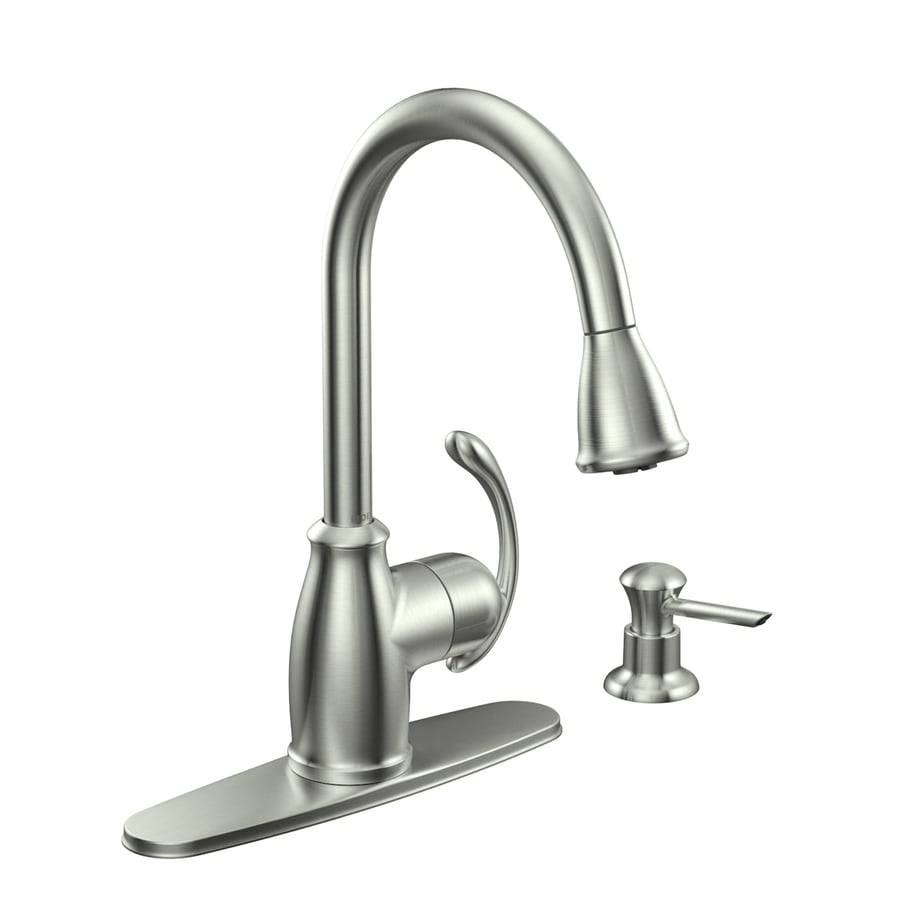 shop moen terrace spot resist stainless 1 handle pull down deck