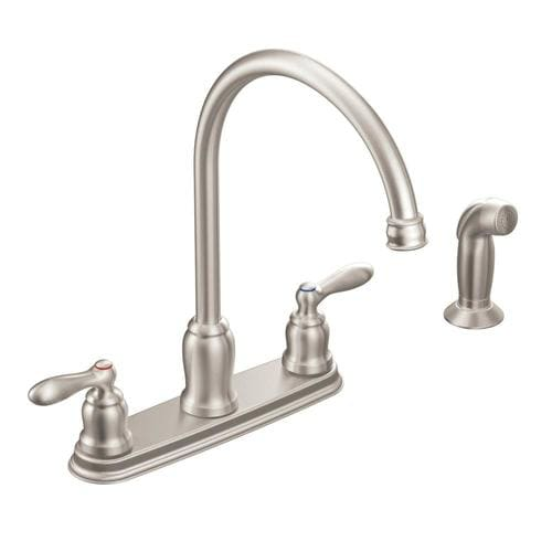 Caldwell Spot Resist Stainless 2-Handle Deck Mount High-Arc  Commercial/Residential Kitchen Faucet