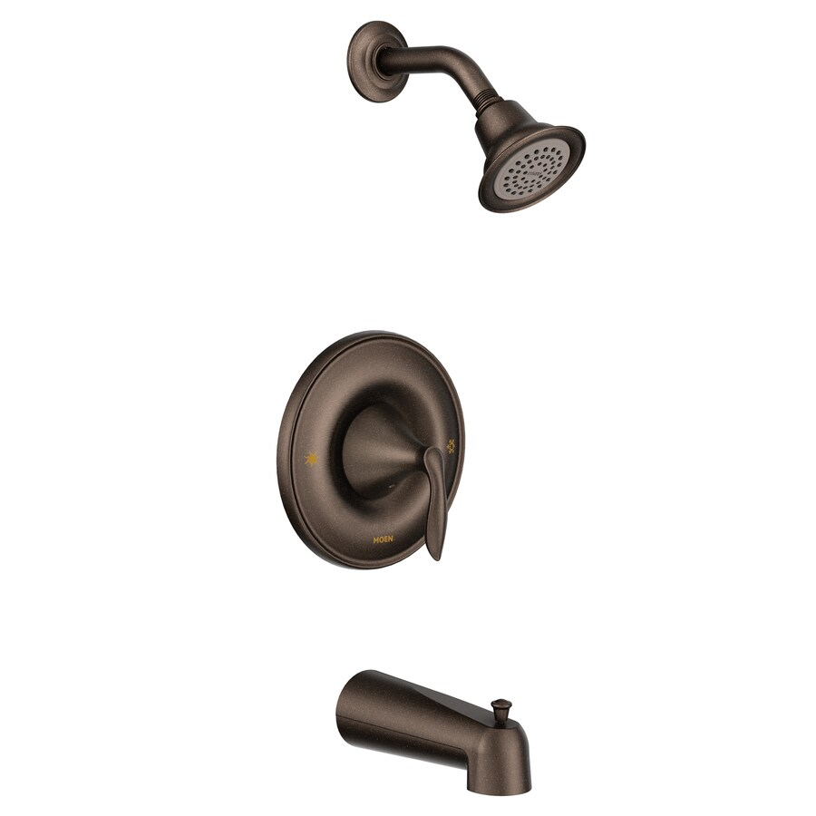 Moen Eva Oil-Rubbed Bronze 1-Handle WaterSense Bathtub and Shower Faucet Trim Kit with Single Function Showerhead