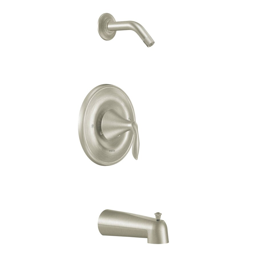 Moen Eva Brushed Nickel 1-Handle Bathtub and Shower Faucet Trim Kit with Single Function Showerhead