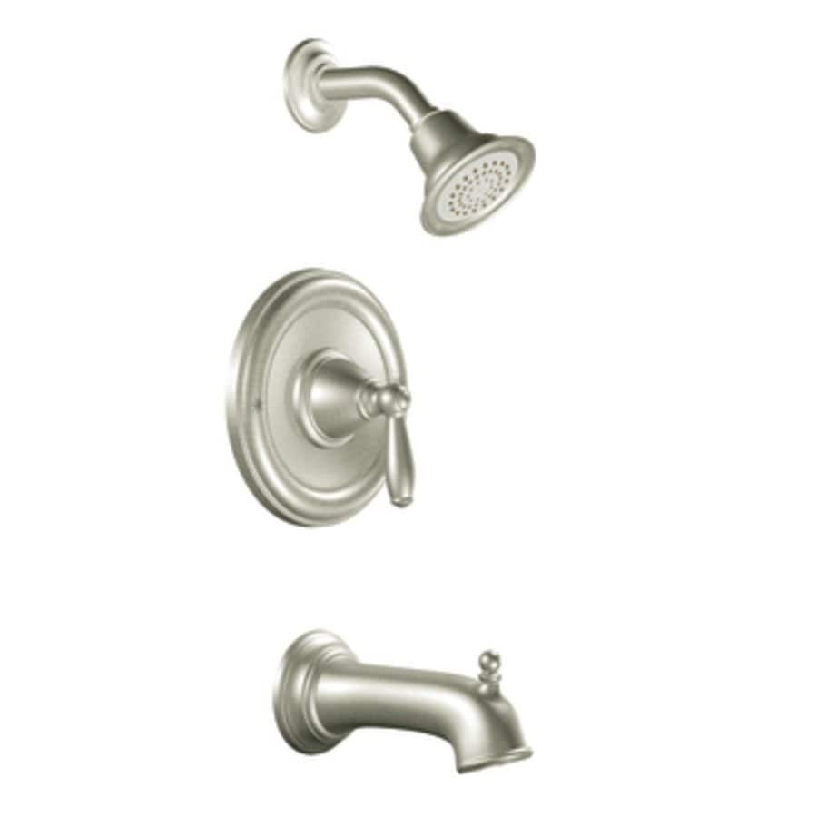 Shop moen brantford brushed nickel 1 handle watersense bathtub and shower faucet trim kit with - Moen shower faucet ...