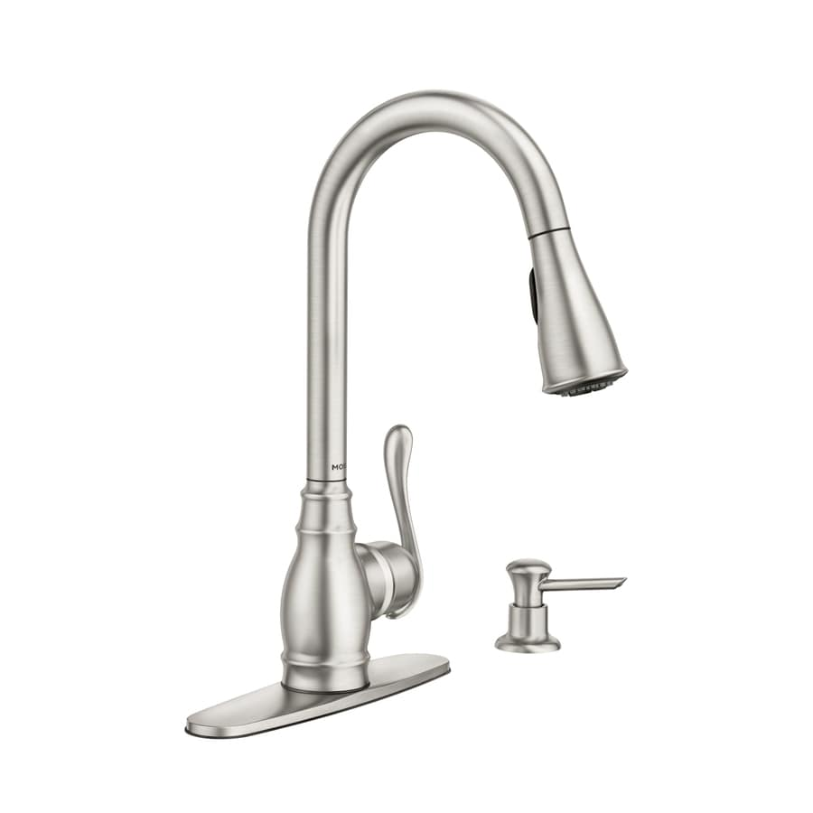 moen anabelle spot resist stainless 1 handle pull down kitchen rh lowes com how to replace a moen kitchen faucet spray hose how to install a moen kitchen faucet with spray