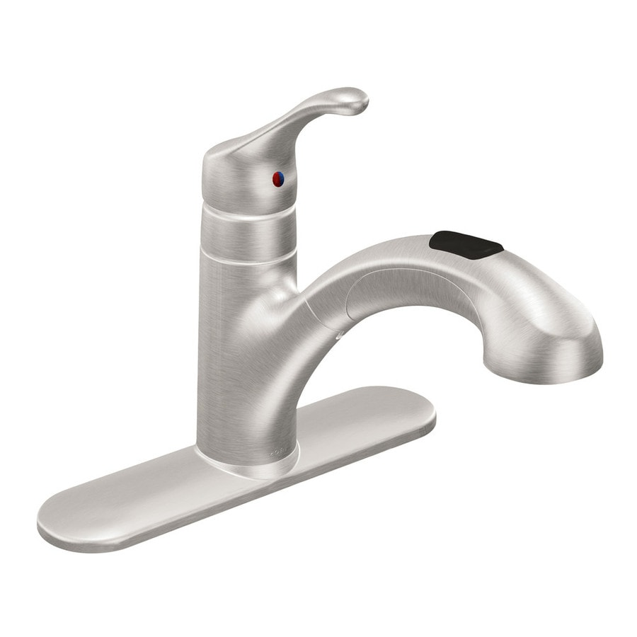 Amazing Moen Renzo Spot Resist Stainless 1 Handle Deck Mount Pull Out Kitchen Faucet