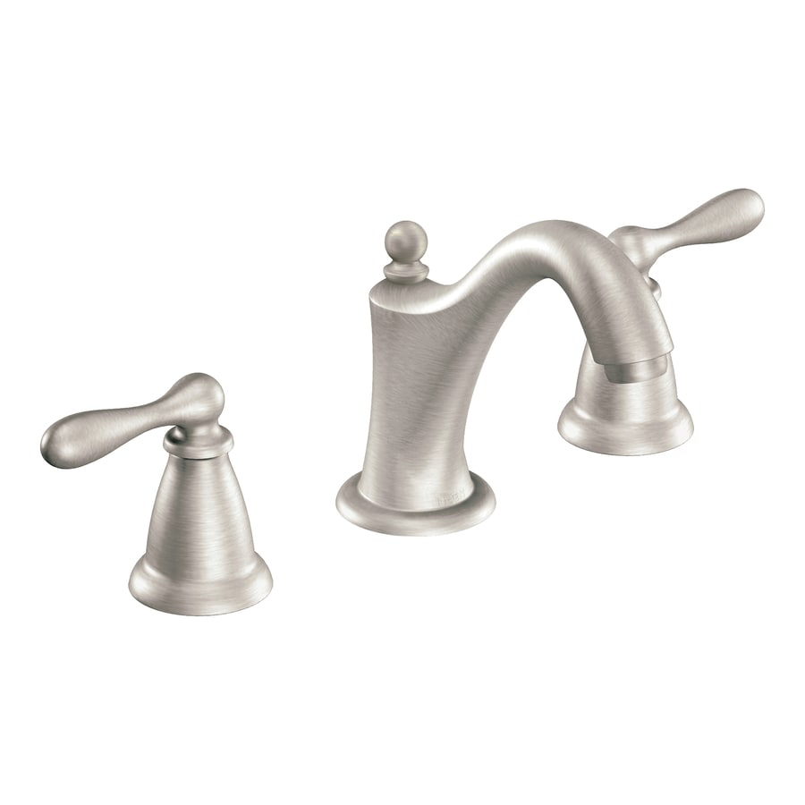 Moen Caldwell Spot Resist Brushed Nickel 2 Handle Widespread WaterSense  Bathroom Sink Faucet  Drain. Shop Moen Caldwell Spot Resist Brushed Nickel 2 Handle Widespread