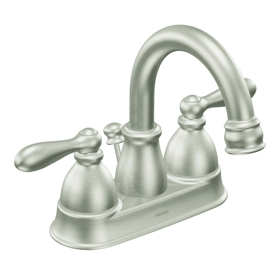 Moen Caldwell Spot Resist Brushed Nickel 2-Handle 4-in Centerset WaterSense Bathroom Sink Faucet (Drain Included)