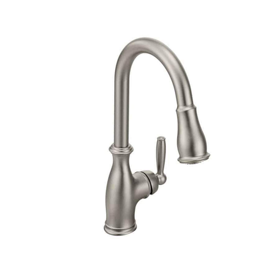 Shop Moen Brantford Classic Stainless 1Handle HighArc Kitchen Faucet at Lowes.com