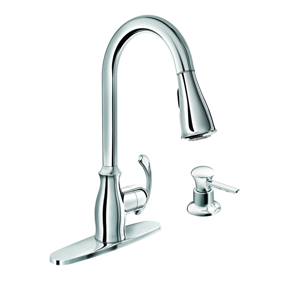 moen kipton chrome 1handle deck mount pulldown kitchen faucet