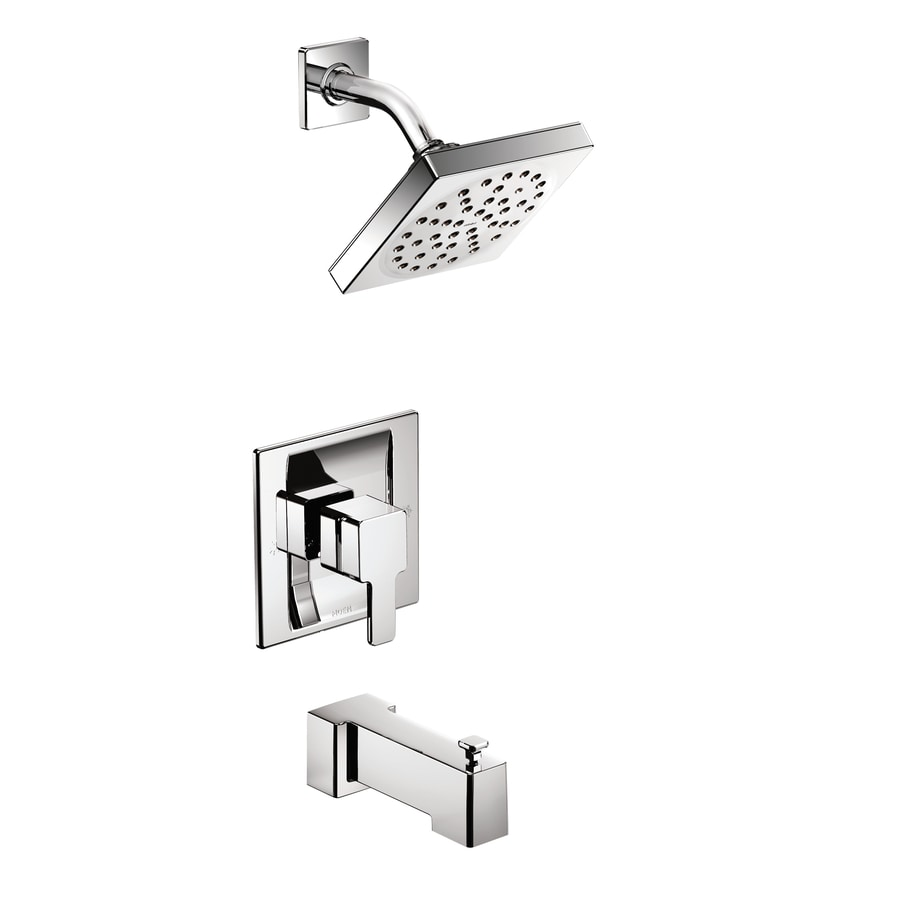 Moen 90 Degree Chrome 1-Handle Bathtub and Shower Faucet with Single Function Showerhead