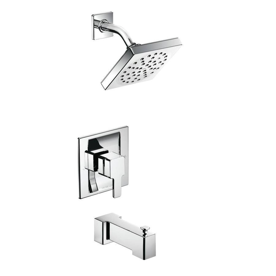 Moen 90 Degree Chrome 1-Handle Bathtub and Shower Faucet with Rain Showerhead