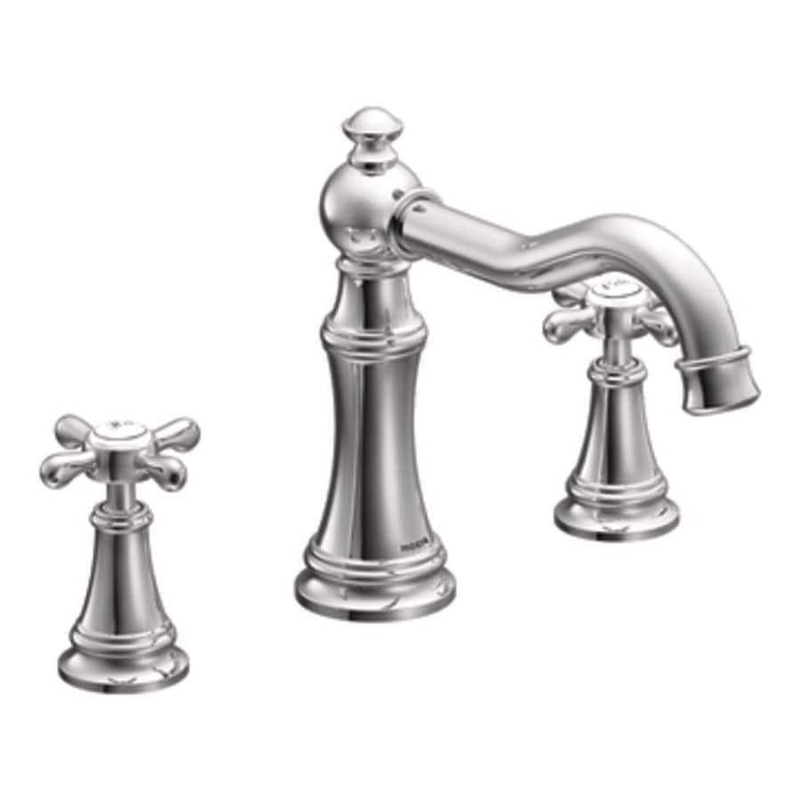 shop moen weymouth chrome 2 handle adjustable deck mount bathtub faucet at. Black Bedroom Furniture Sets. Home Design Ideas