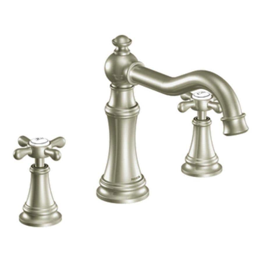 Moen Weymouth Brushed Nickel 2-Handle Fixed Deck Mount Bathtub Faucet