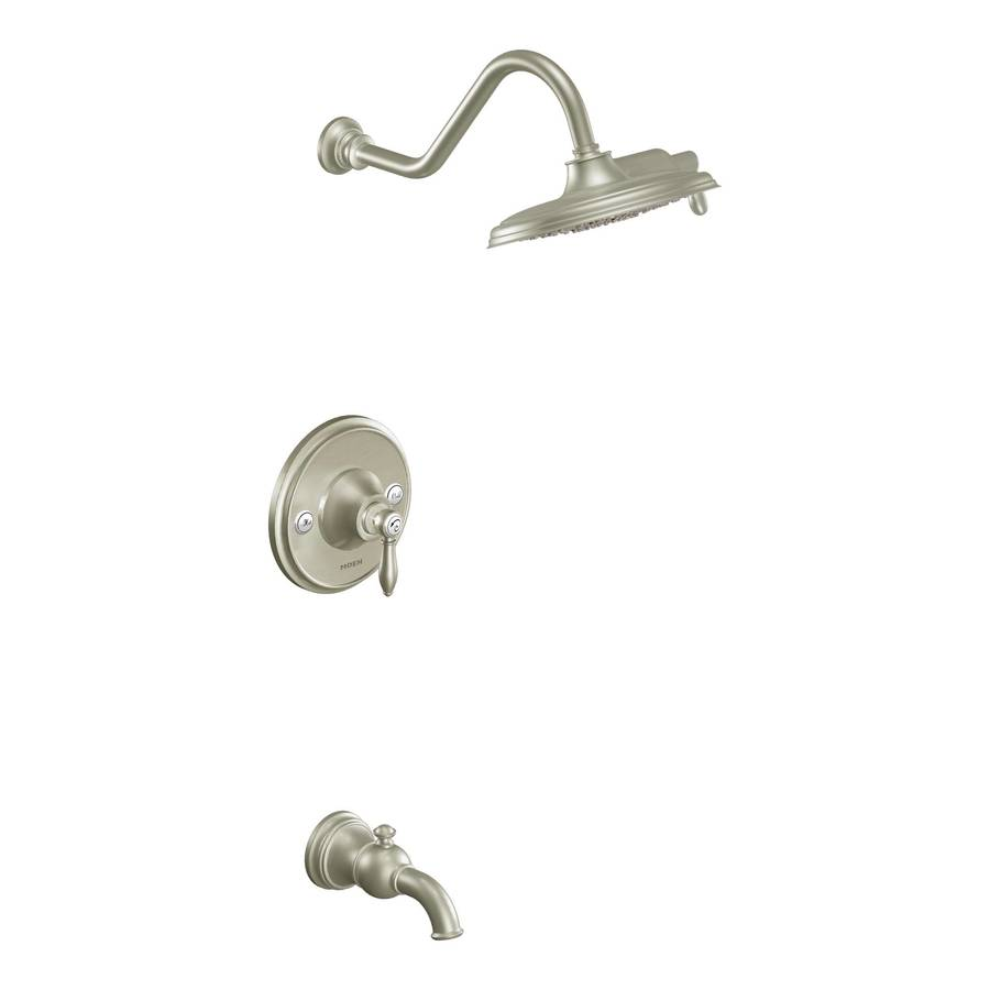 Moen Weymouth Brushed Nickel 1-Handle Bathtub and Shower Faucet Trim Kit with Rain Showerhead