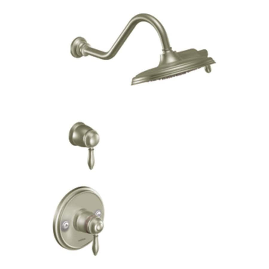 Moen Weymouth Brushed Nickel 1-Handle Shower Faucet Trim Kit with Rain Showerhead