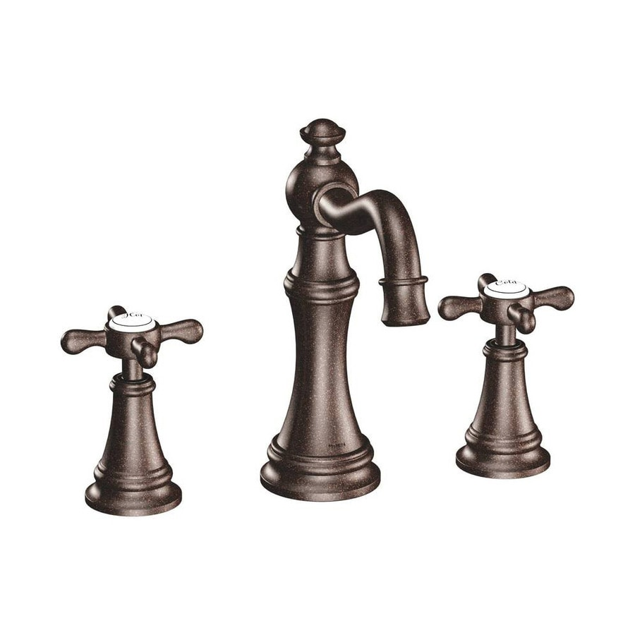 Shop Moen Weymouth Oil Rubbed Bronze 2 Handle Widespread Bathroom Sink Faucet At