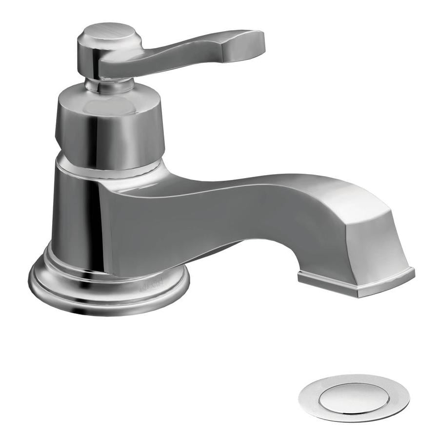 Moen Rothbury Chrome 1-Handle 4-in Centerset WaterSense Bathroom Faucet (Drain Included)