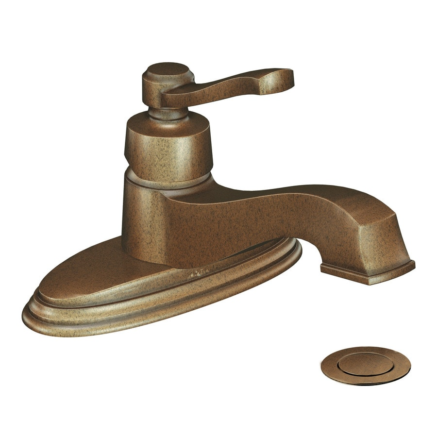 Shop Moen Rothbury Antique Bronze 1 Handle 4 In Centerset Watersense Bathroom Faucet Drain