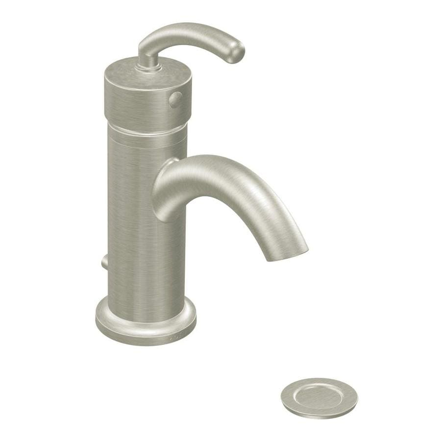 Moen Icon Brushed Nickel 1-Handle Single Hole/4-in Centerset WaterSense Bathroom Faucet (Drain Included)