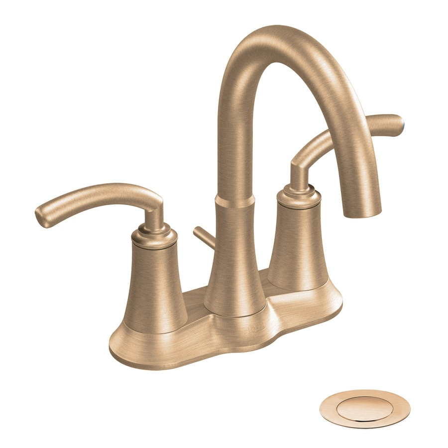 Moen Icon Brushed Bronze 2-Handle 4-in Centerset WaterSense Labeled Bathroom Sink Faucet (Drain Included)
