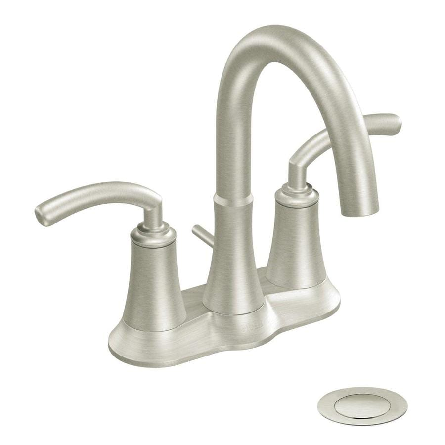 moen kitchen faucet brushed nickel shop moen icon brushed nickel 2 handle 4 in centerset watersense bathroom faucet drain included 296