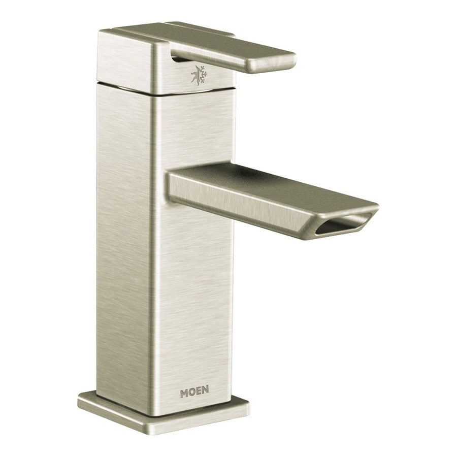 Moen 90 Degree Brushed Nickel 1-Handle Single Hole WaterSense Bathroom Faucet (Drain Included)