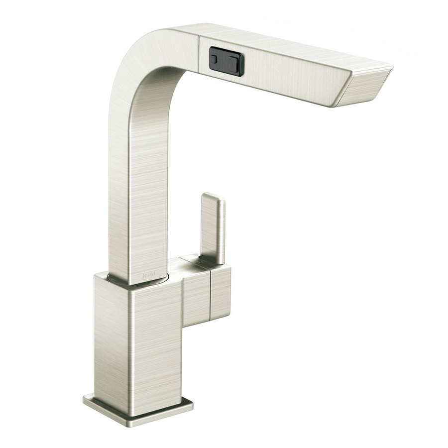 Moen 90 Degree Stainless 1-Handle Deck Mount Pull-Out Kitchen Faucet