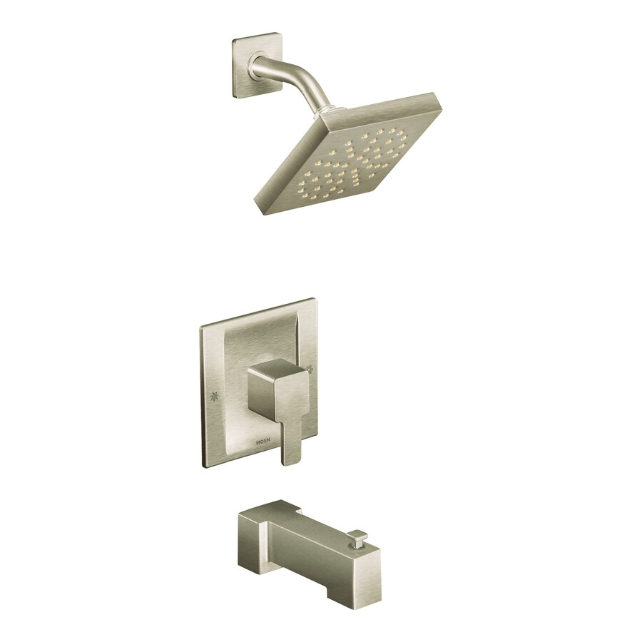 Moen 90 Degree Brushed Nickel 1-Handle Bathtub and Shower Faucet with Single Function Showerhead