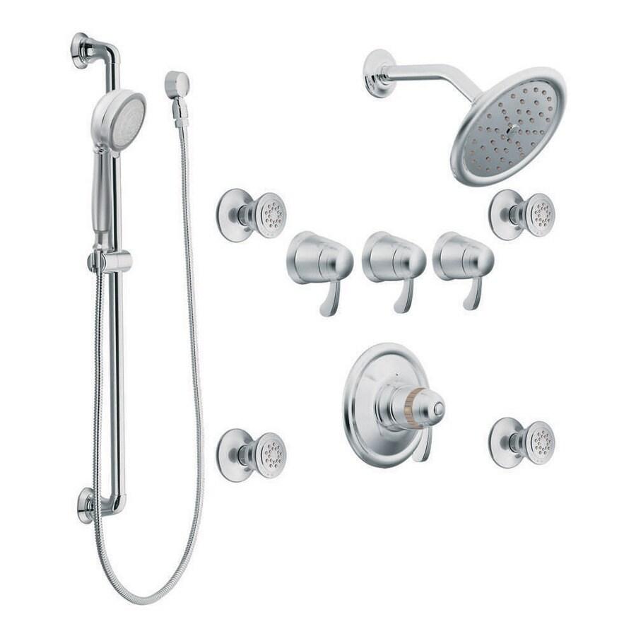 Moen Chrome 1 Handle Vertical Shower Sytem Trim Kit With Multi Head Showerhead