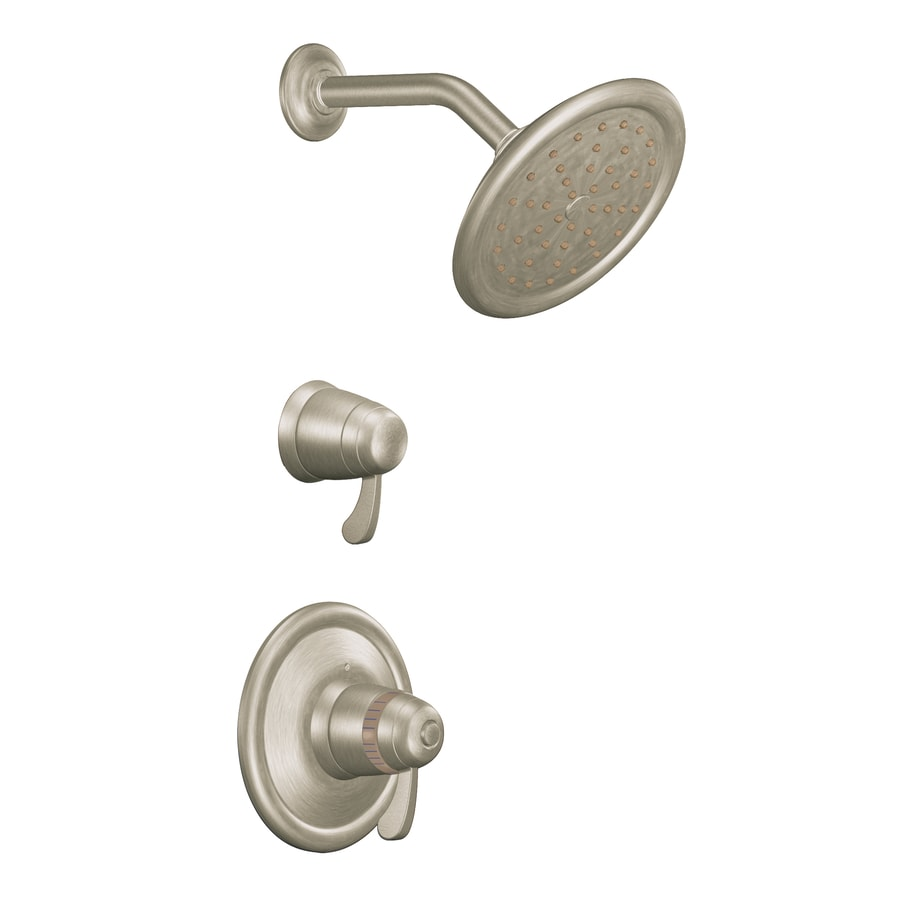 Moen Brushed Nickel 2-Handle Vertical Shower System Trim Kit with Rain Showerhead