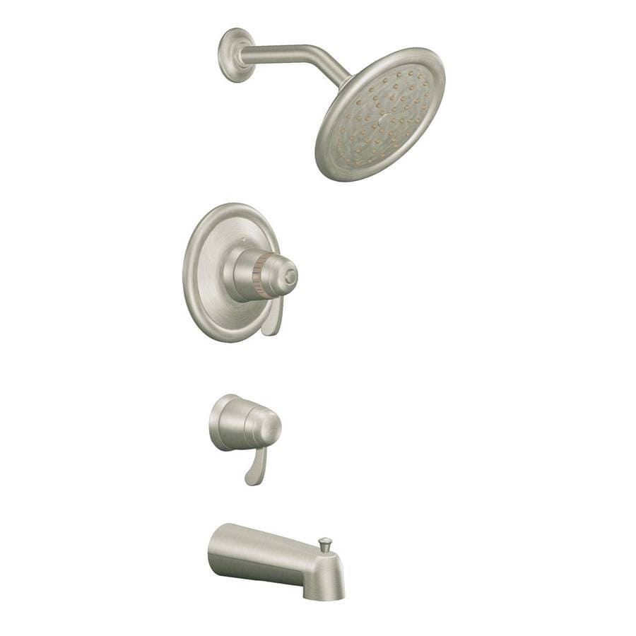 Moen Brushed Nickel 2-Handle Bathtub and Shower Faucet Trim Kit with Single Function Showerhead