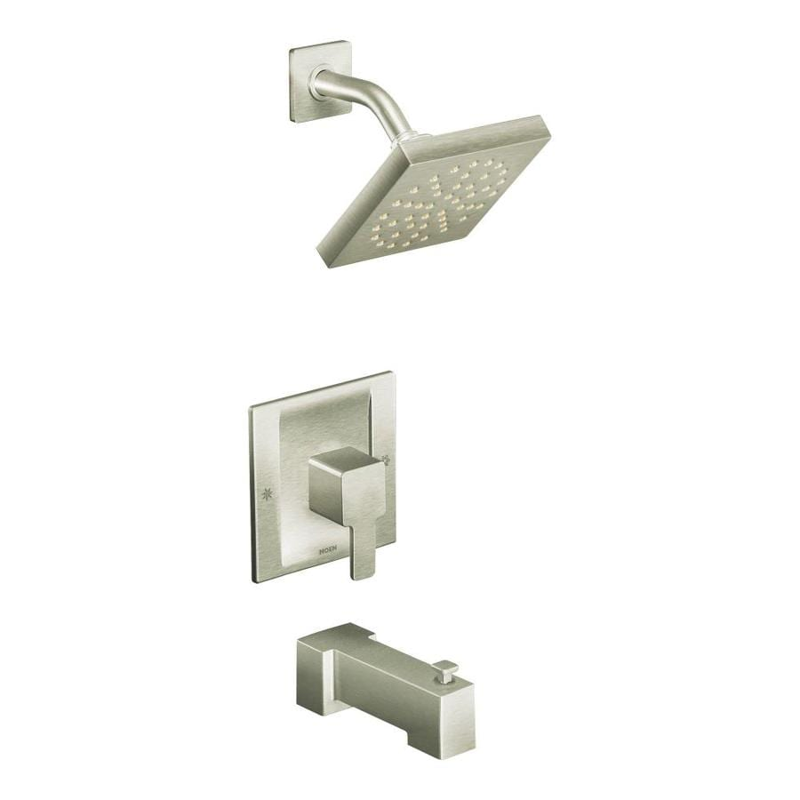 Moen 90 Degree Brushed Nickel 1-Handle Bathtub and Shower Faucet with Rain Showerhead