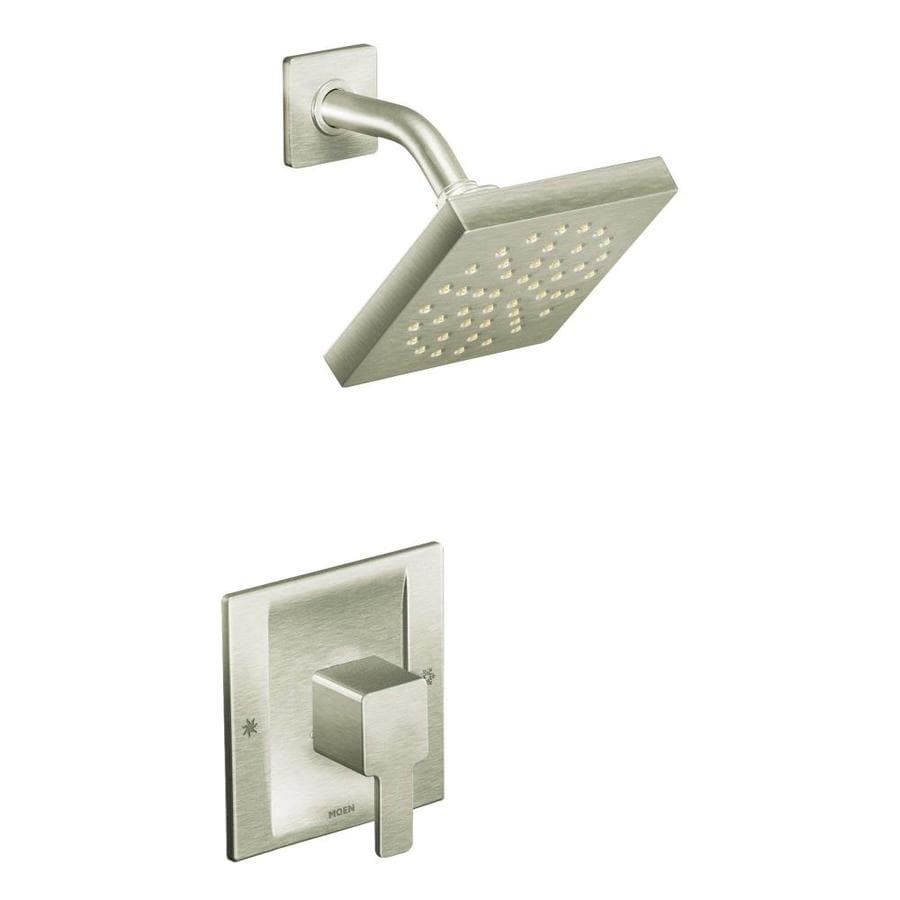 Moen 90 Degree Brushed Nickel 1-Handle Shower Faucet Trim Kit with Rain  Showerhead