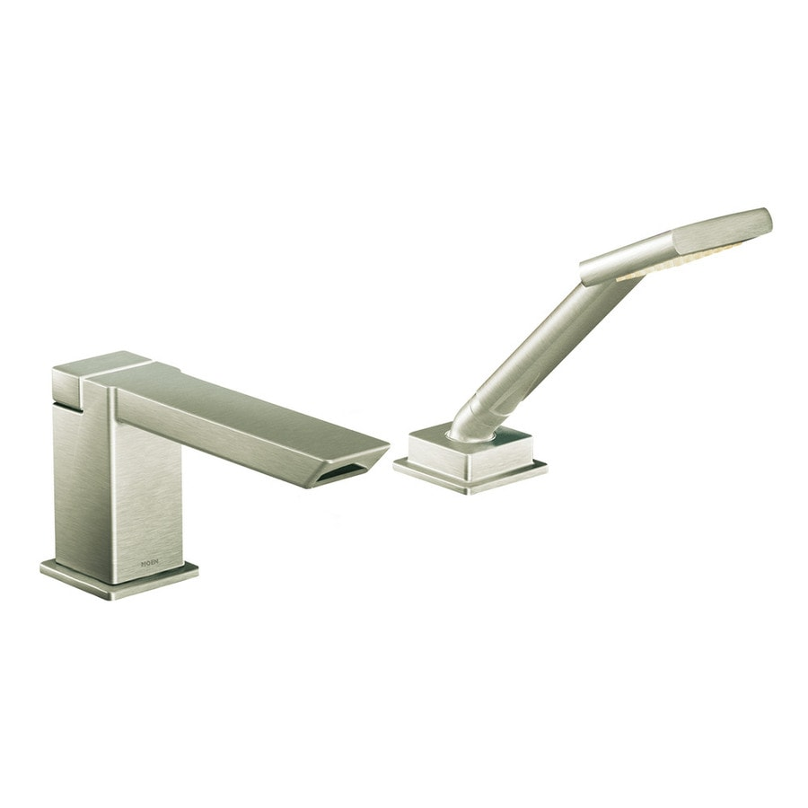 Shop Moen 90 Degree Brushed Nickel Touchless Adjustable Deck Mount Tub Faucet At