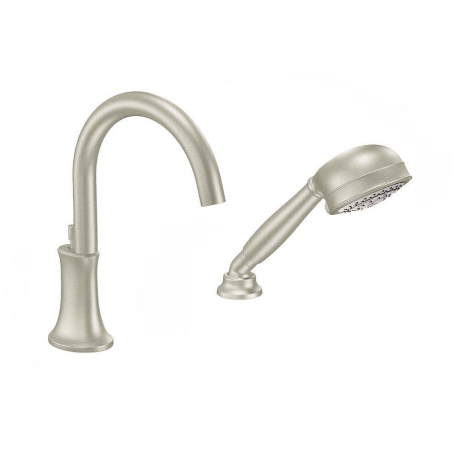 Shop Moen Icon Brushed Nickel Touchless Adjustable Deck Mount Tub Faucet At