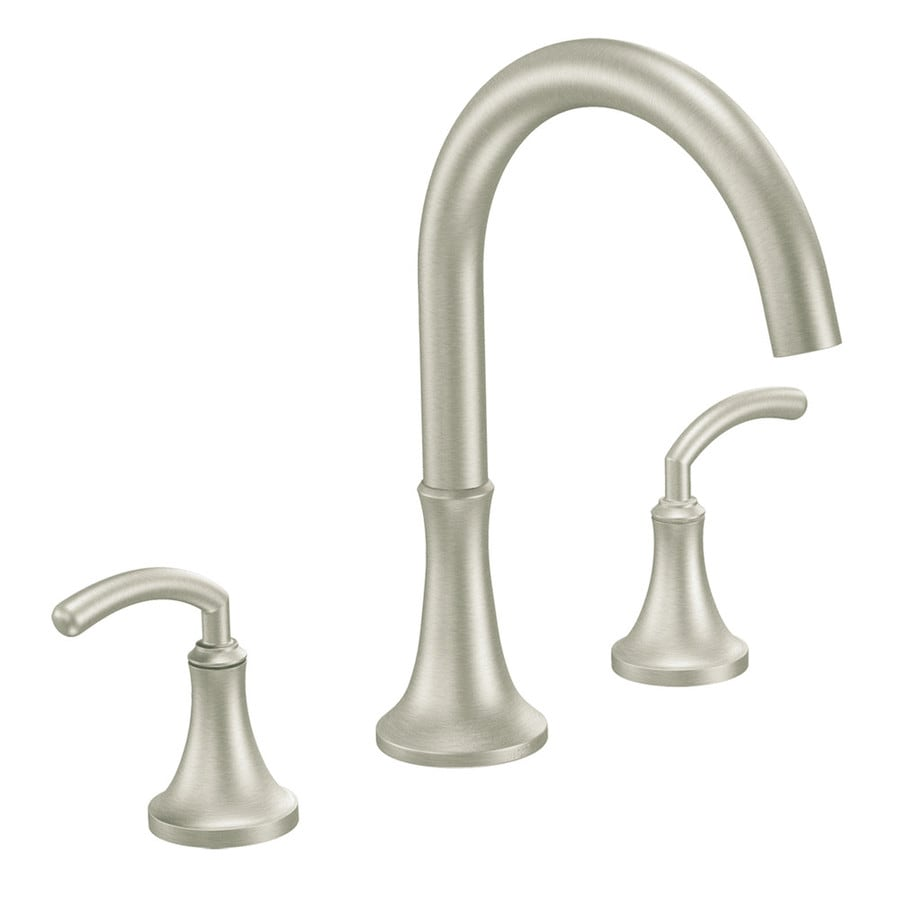 Moen Icon Brushed Nickel 2-Handle Adjustable Deck Mount Bathtub Faucet