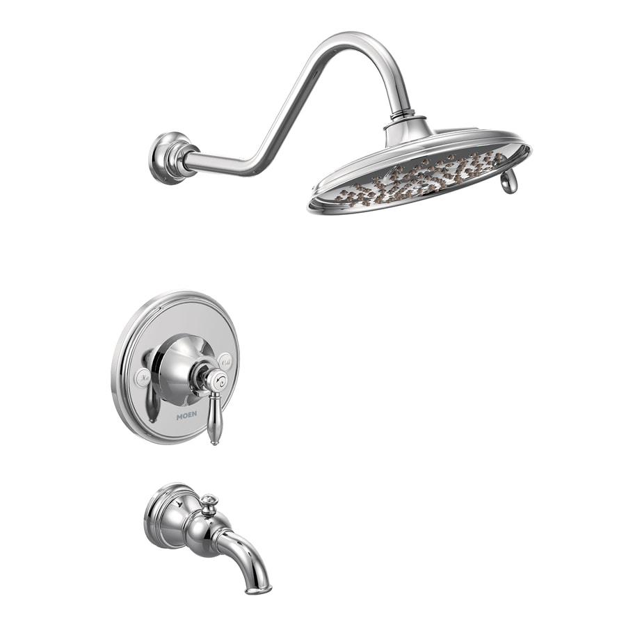 Moen Weymouth Chrome 1-Handle Bathtub and Shower Faucet with Rain Showerhead