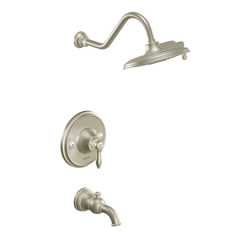 Moen Weymouth Brushed Nickel 1-Handle WaterSense Bathtub and Shower Faucet Trim Kit with Single Function Showerhead