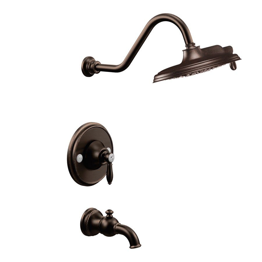 Moen Weymouth Oil-Rubbed Bronze 1-Handle Bathtub and Shower Faucet with Rain Showerhead