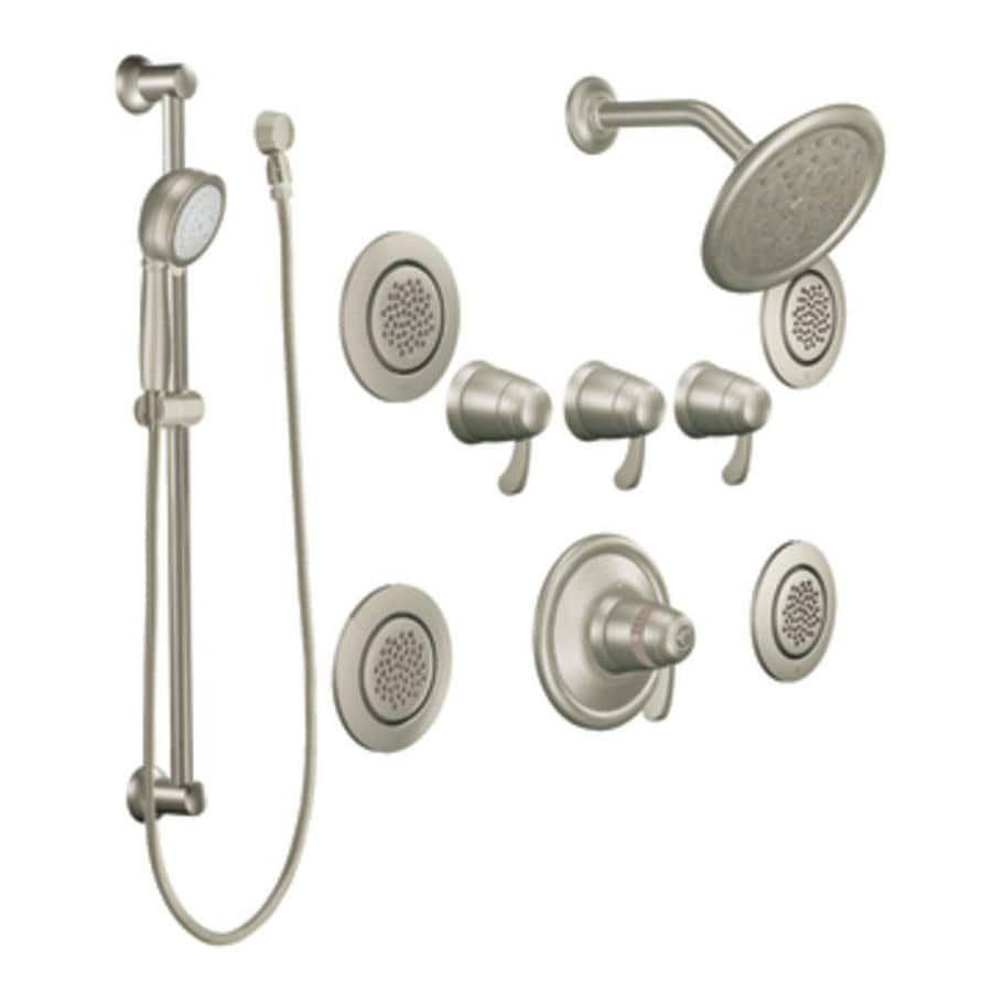 Superb Moen Exacttemp Brushed Nickel 3 Handle Vertical Shower System Trim Kit With  Rain Showerhead