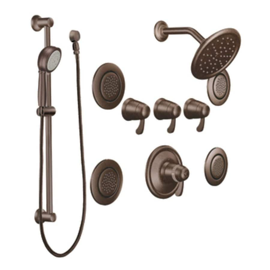 Moen Exacttemp Oil Rubbed Bronze 3 Handle Vertical Shower System Trim Kit  With Rain