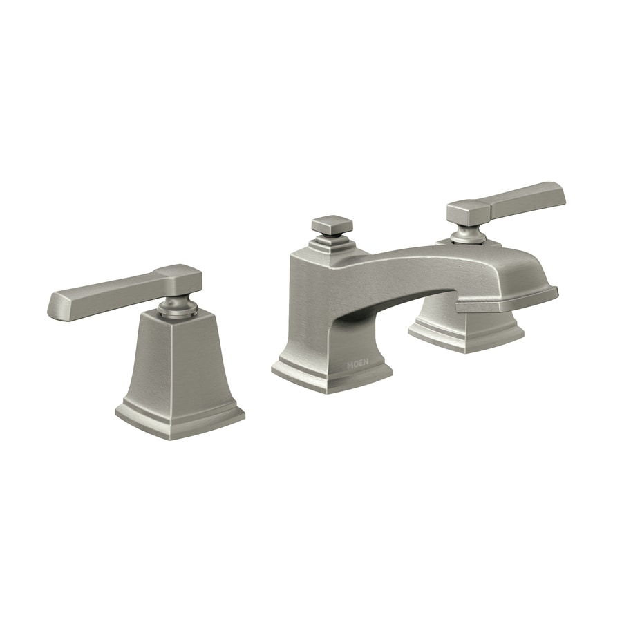 Moen Boardwalk Spot Resist Brushed Nickel 2 Handle Widespread Watersense Bathroom Faucet Drain Included