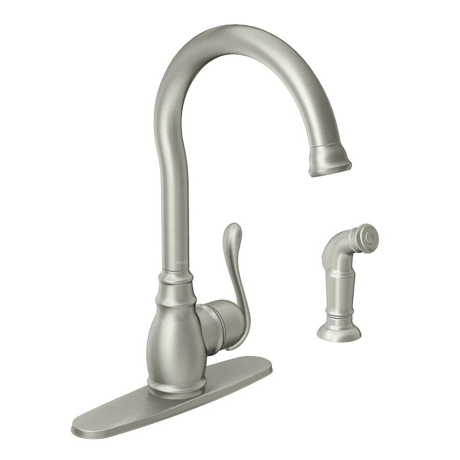 moen anabelle spot resist stainless 1 handle deck mount high arc kitchen faucet