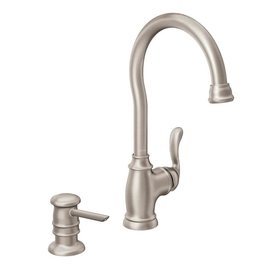 moen anabelle kitchen faucet shop moen anabelle stainless steel 1 handle deck mount bar 20804