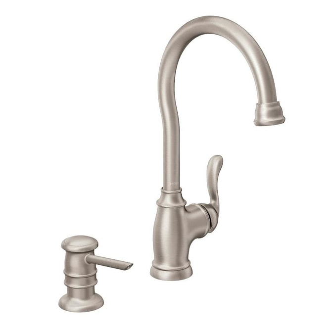Moen Anabelle Spot Resist Stainless 1 Handle Deck Mount High Arc Handle Kitchen Faucet In The Kitchen Faucets Department At Lowes Com