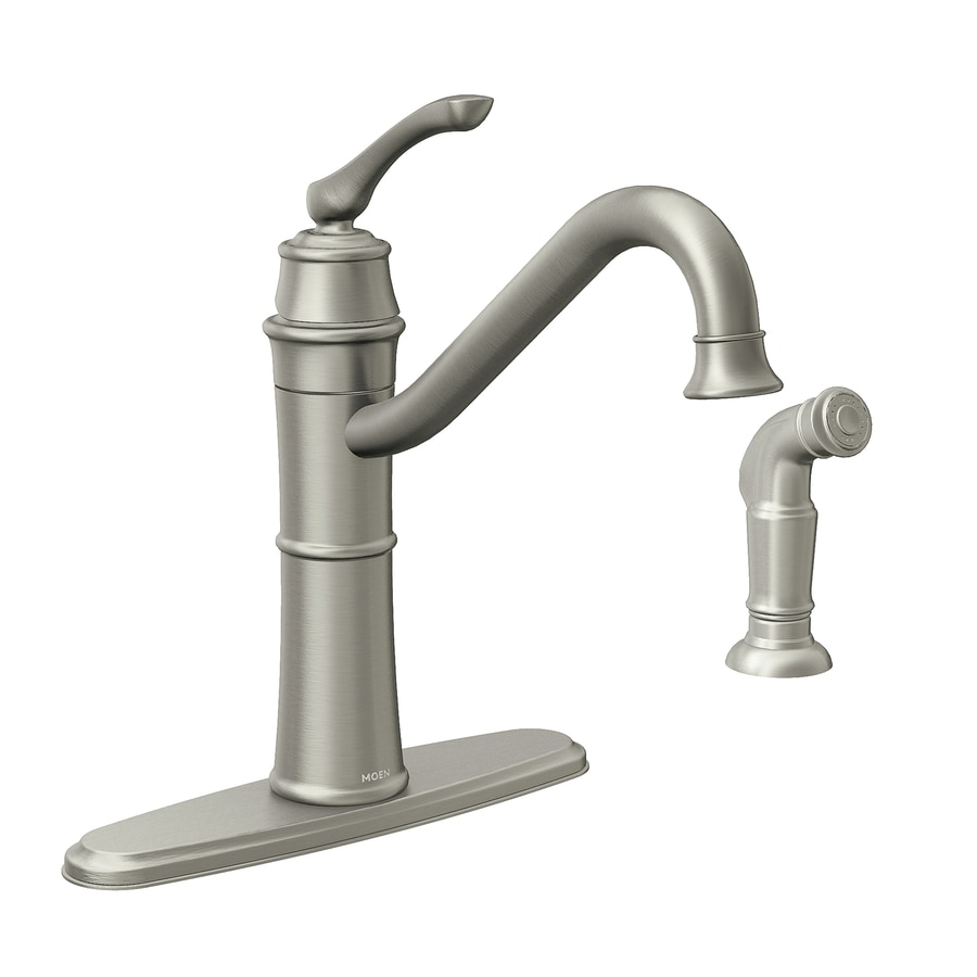 Moen Wetherly Spot Resist Stainless 1-Handle Deck Mount High-Arc Kitchen Faucet